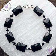 Black Onyx Facet Rectangle Bracelet